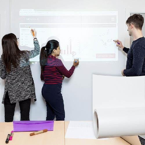 People using projection surfaces and whiteboard for meetings | smartersurfaces.sg