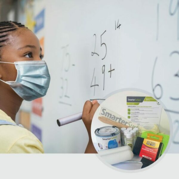 Smart Antimicrobial Whiteboard Paint Girl in Mask With Kit Contents