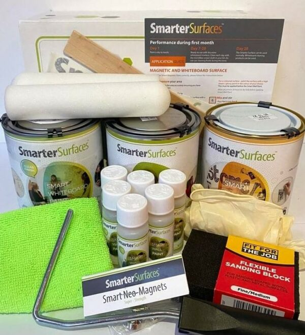 Smart Magnetic Whiteboard Paint Clear Full Kit with Application Guide | smartersurfaces.sg