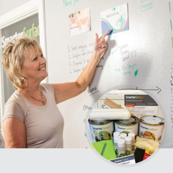 Smart Magnetic Whiteboard Paint Clear in use with kit on display | smartersurfaces.sg