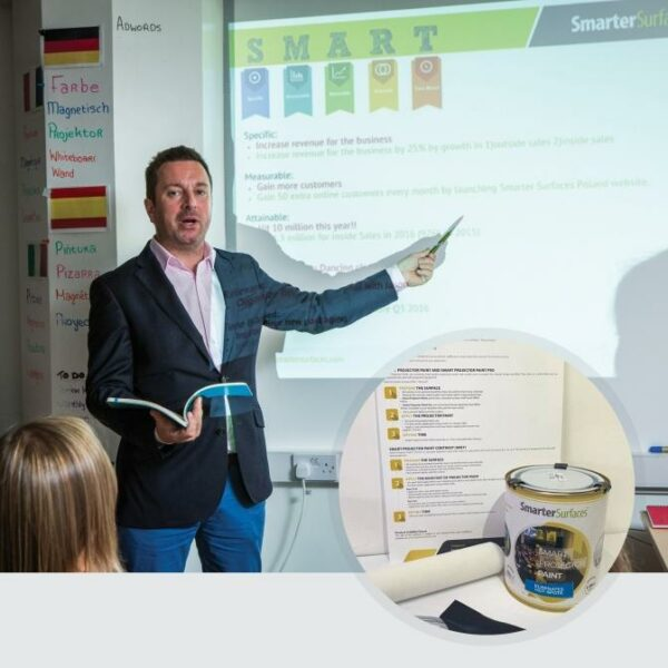 Smart Projector Paint in use with kit on display | smartersurfaces.sg