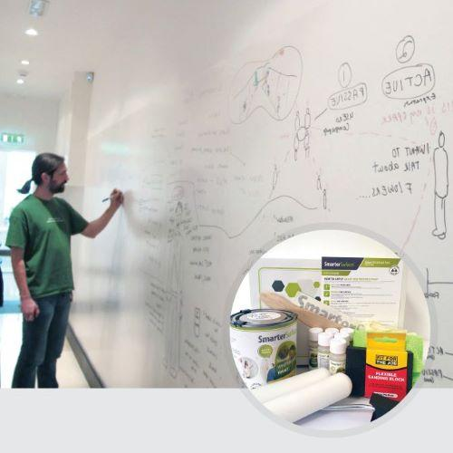 Smart Whiteboard Paint White product in use and kit