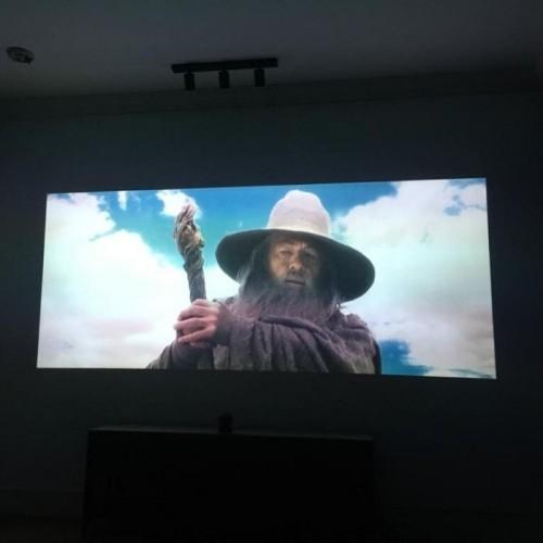 movie projected on wall with smart projector paint contrast | smartersurfaces.sg
