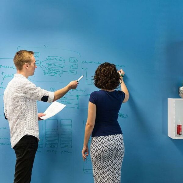 product 4 4 smart wall paint clear in use on blue wall | smartersurfaces.sg