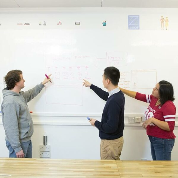 product 5 5 smart dry erase wallcovering being used to design apps | smartersurfaces.sg
