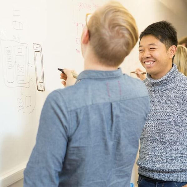 product 6 6 smart whiteboard wallcovering being used to design phone apps | smartersurfaces.sg