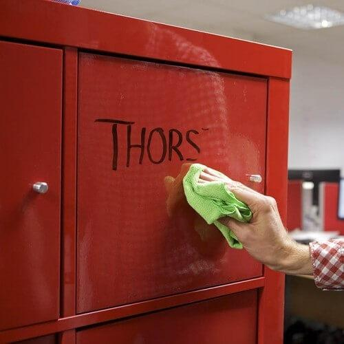 product c l clear dry erase film applied to locker | smartersurfaces.sg