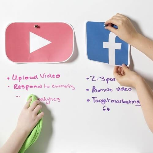 product h a hanging paper and writing on smart magnetic whiteboard wallpaper low sheen at the same time | smartersurfaces.sg