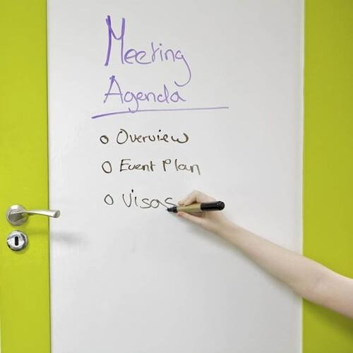 product m e meeting room door covered in smart self adhesive whiteboard film applied on top   smartersurfaces.sg