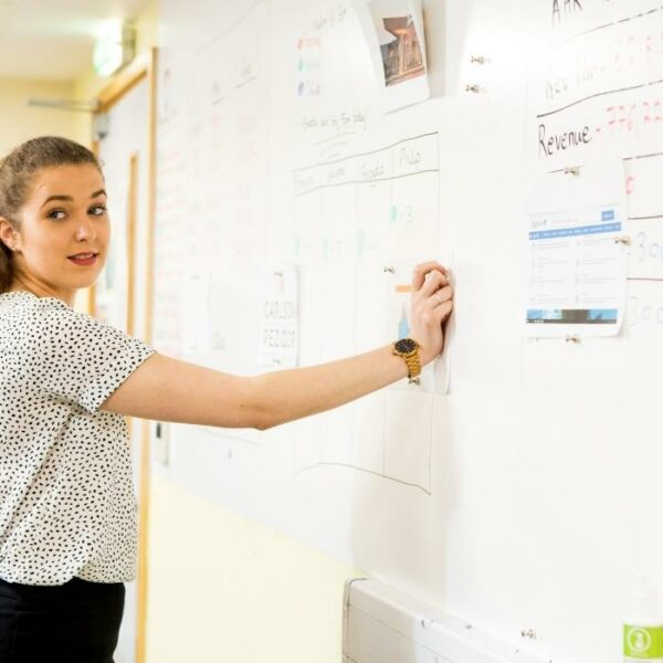 product s m smart magnetic whiteboard wall being used for brainstorming | smartersurfaces.sg