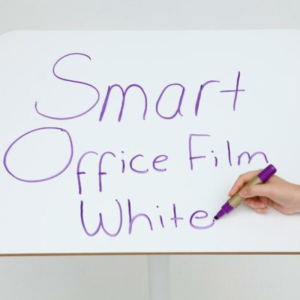 product s m smart self adhesive whiteboard film applied to desk 1   smartersurfaces.sg