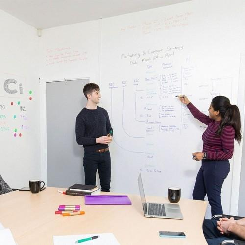 product s m smart whiteboard wallpaper low sheen used in meeting | smartersurfaces.sg