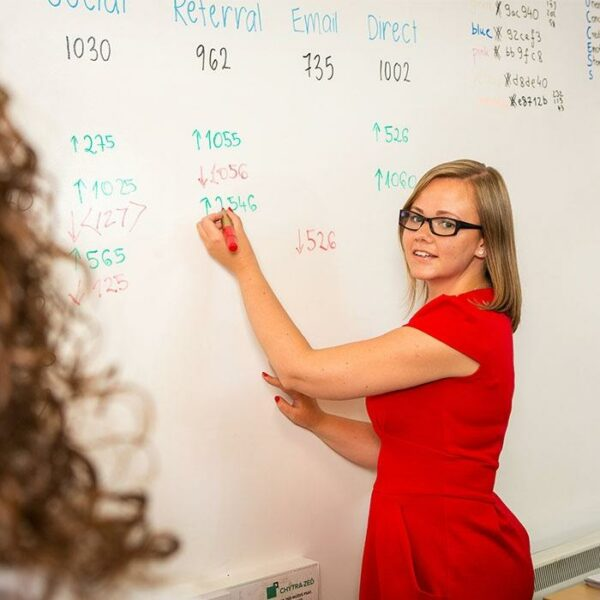 product s m smarter surfaces woman using smart whiteboard paint coated wall to write monthly figures | smartersurfaces.sg