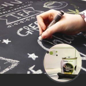 smart chalkboard paint in use with kit on display