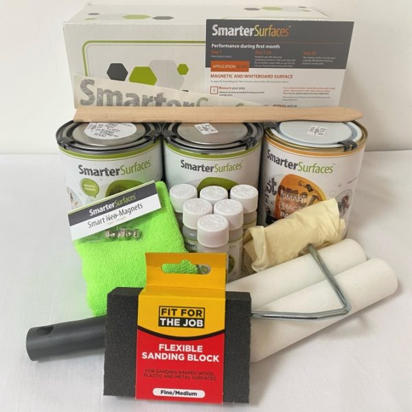 smart magnetic whiteboard paint white full kit with box and app guide | smartersurfaces.sg