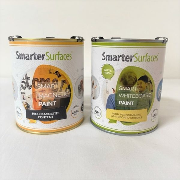 smart magnetic whiteboard paint white tins front | smartersurfaces.sg