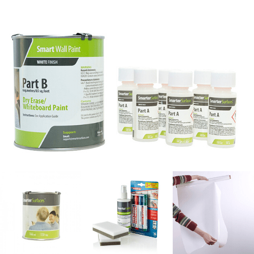 whiteboard paint white bundle home office   smartersurfaces.sg