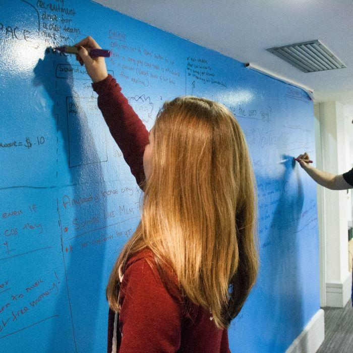 Dry erase paint wall with woman writing on it